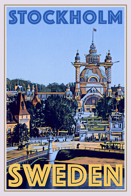 retro poster of an architectural folly in Stockholm Sweden