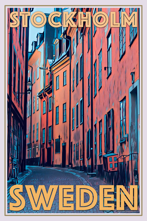 retro poster of old stockholm sweden