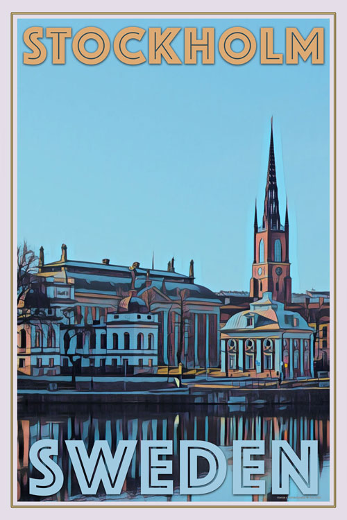 retro poster of an old palace in Stockholm Sweden