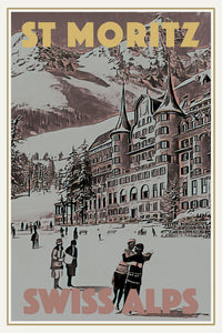 Vintage poster - ST MORITZ - Vintage travel poster of Switzerland