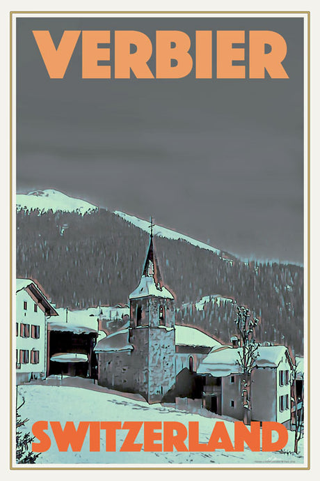 Vintage poster - VERBIER CHURCH - Vintage travel poster of Switzerland