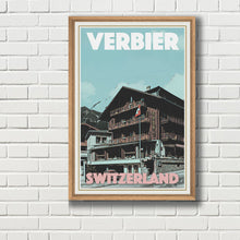 Load image into Gallery viewer, Framed vintage poster of Verbier Eden Hotel