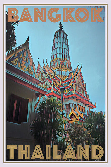 retro poster of crocodiles farm temple in Bangkok, Thailand