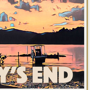 Details of JOURNEY'S END SUNSET - Vintage travel poster