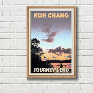 Framed JOURNEY'S END SUNSET - Vintage travel poster