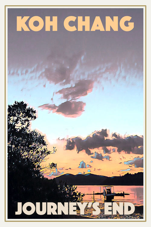 JOURNEY'S END SUNSET - Vintage travel poster