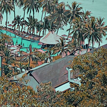 Load image into Gallery viewer, Details of WHITE SAND BEACH RESORT - Vintage travel poster