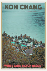 WHITE SAND BEACH RESORT - Vintage travel poster