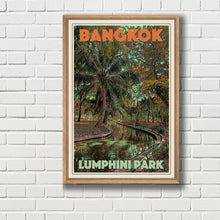 Load image into Gallery viewer, Framed Vintage poster of Lumphini Park Bangkok