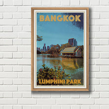 Load image into Gallery viewer, Framed Lumphini Park vintage travel poster