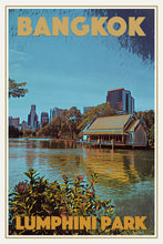 Load image into Gallery viewer, LUMPHINI PARK LAKE - Vintage travel poster - BANGKOK