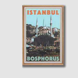 Framed poster Istanbul Bosphorus - Retro Poster Turkey