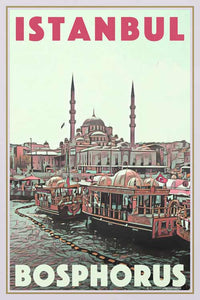 Vintage poster Istanbul Boats - Retro Poster Turkey