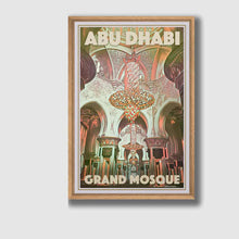 Load image into Gallery viewer, Framed Poster Abu Dhabi Grand Mosque Interior - Retro Art Print UAE