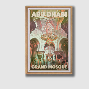 Framed Poster Abu Dhabi Grand Mosque Interior - Retro Art Print UAE