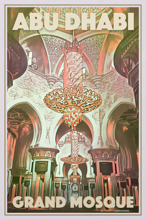 Poster Abu Dhabi Grand Mosque Interior - Retro Art Print UAE