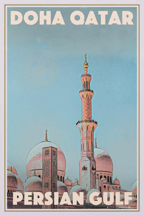 Vintage Poster Doha Qatar Mosque - Retro Poster Persian Gulf