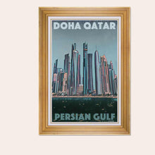 Load image into Gallery viewer, Framed Poster Doha Qatar Panorama - Retro Poster Persian Gulf