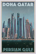 Load image into Gallery viewer, Vintage Art Print Doha Qatar Panorama - Retro Poster Persian Gulf
