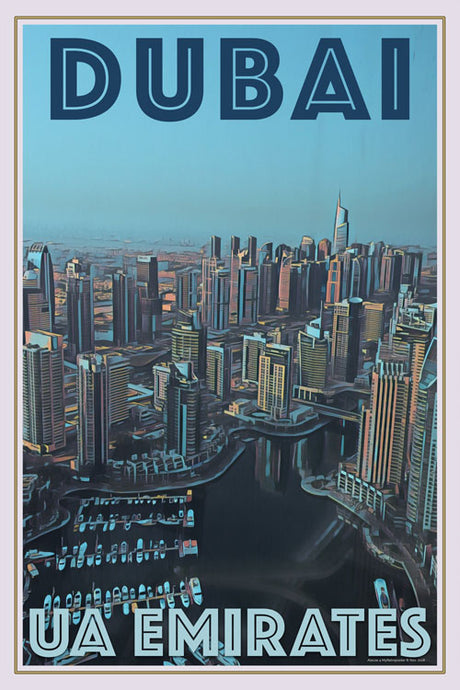 retro poster of a panoramic view of Dubai - UAE