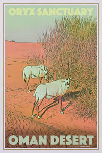 Vintage Travel Poster Oryx Sanctuary Oman - Retro Poster UAE