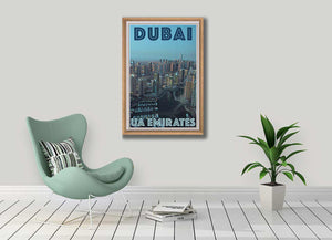 Vintage Travel Poster Dubai Panorama - Retro Poster UAE