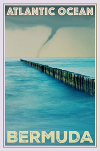 retro poster of a tornado in Bermuda