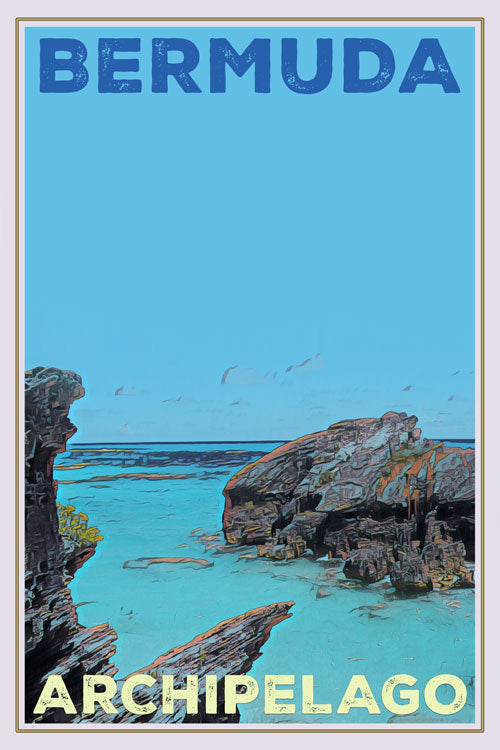 retro poster bermuda island and archipelago united kingdom