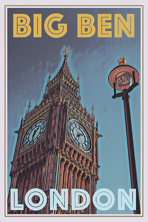 vintage poster of Big Ben London UK
