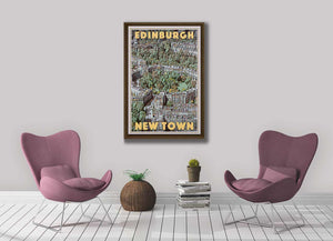 Art Print EDINBURGH NEW TOWN - retro poster SCOTLAND UK