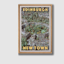 Load image into Gallery viewer, Framed poster EDINBURGH NEW TOWN Vintage Art Print SCOTLAND UK