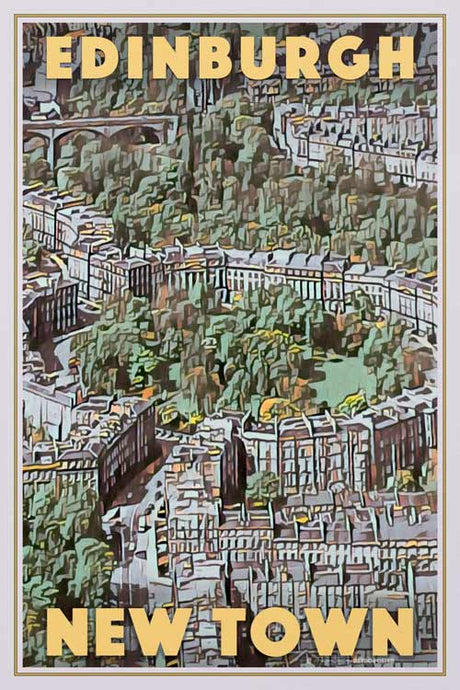 EDINBURGH NEW TOWN Vintage travel poster SCOTLAND UK