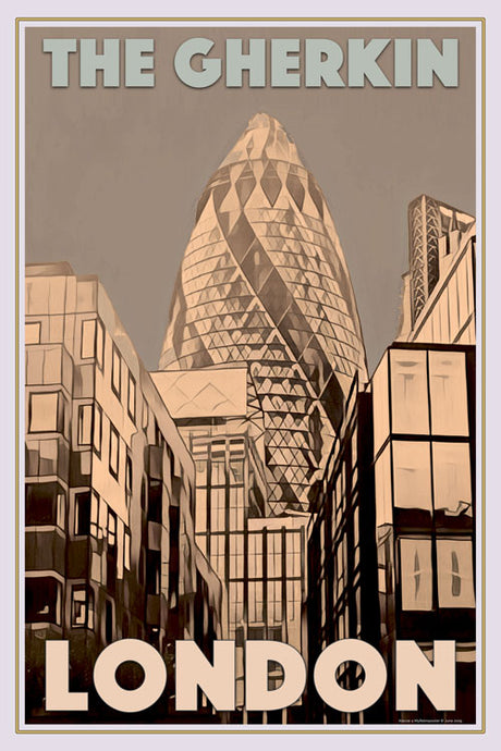Retro poster - THE GHERKIN - LONDON - affiche vintage