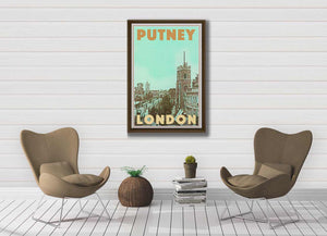 Vintage Poster London Putney - Retro Art Print London