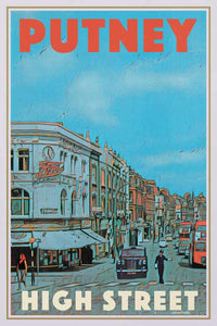 Vintage travel Poster Putney High Street - Retro Poster London