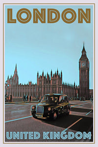 LONDON CAB UK - Vintage travel poster