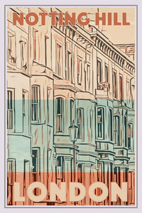 Vintage travel Poster - NOTTING HILL LONDON - Affiche retro