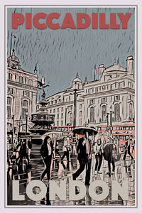 Vintage travel Poster - PICCADILLY CIRCUS LONDON - Affiche retro