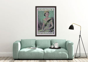 Stylish and so British with this poster of the Queen Elisabeth 2 by french artist Alecse