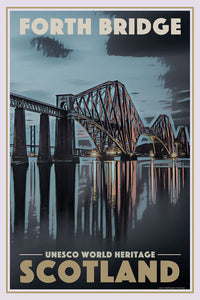 Retro poster - FORTH BRIDGE - SCOTLAND - affiche vintage