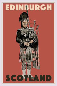 Retro poster - SCOTTISH BAGPIPES - EDINBURGH - affiche vintage