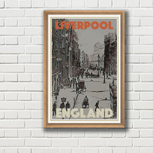 Load image into Gallery viewer, Vintage poster - STREET LIVERPOOL - Vintage travel poster of England