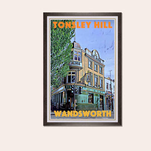 Framed Poster Tonsley Hill Wandsworth - Retro Poster London