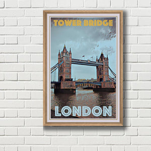 Tower Bridge London - Affiche de voyage vintage
