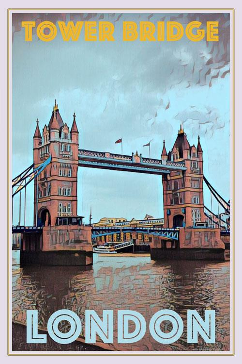 Affiche vintage Tower Bridge London - Affiche de voyage vintage
