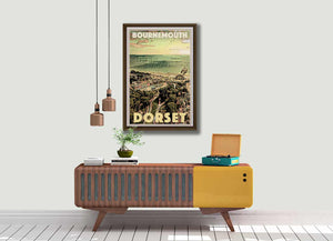 Vintage Art Print Bournemouth Dorset - Retro Poster UK