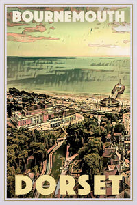 Vintage travel Poster Bournemouth Dorset - Retro Poster UK