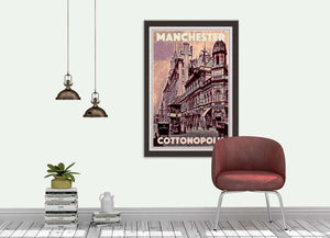 Vintage Travel Poster MANCHESTER COTTONPOLIS - Retro Poster UK