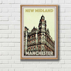 Framed Poster New Midland Hotel - Retro poster Manchester