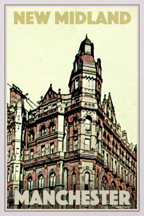 Vintage Poster New Midland Hotel - Retro poster Manchester
